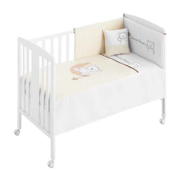 Colección textil minicuna bebe sweet bear- Protector desenfundable+ edredón+ sábana bajera+ cojín para cuna bebe - 300101