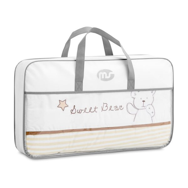 Colección textil minicuna bebe sweet bear- Protector desenfundable+ edredón+ sábana bajera+ cojín para cuna bebe - 300101a